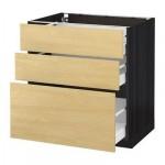 МЕТОД / МАКСИМЕРА Напольный шкаф с 3 ящиками - 80x60 см, Тингсрид под березу, под дерево черный