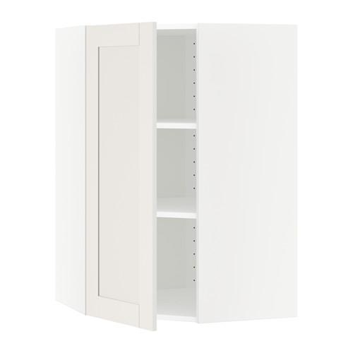 МЕТОД Угловой навесной шкаф с полками - 68x100 см, Сэведаль белый, белый