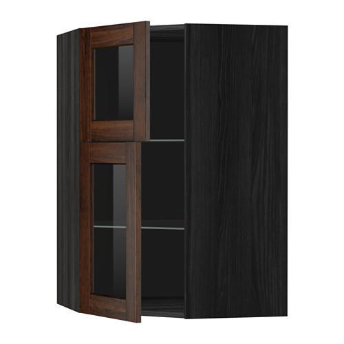 МЕТОД Углов навесной шкаф+полки/2 сткл дв - под дерево черный, Эдсерум под дерево коричневый