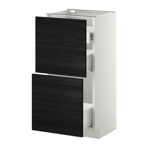 VERFAHREN / FORVARA Nap Schrank 2 FRNT PNL / 1nizk / 2sr Schubladen - weiß, schwarz Tingsrid Holz, 40x37 cm