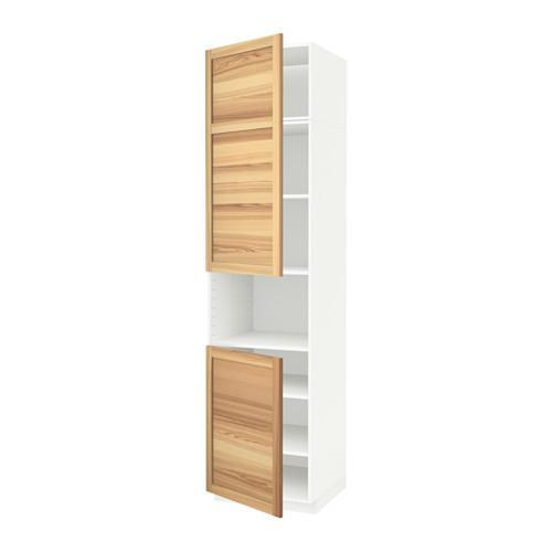 methode hochschrank d mikrowelle 2 t ren regale wei thorhamn naturasche 60x60x240 cm. Black Bedroom Furniture Sets. Home Design Ideas