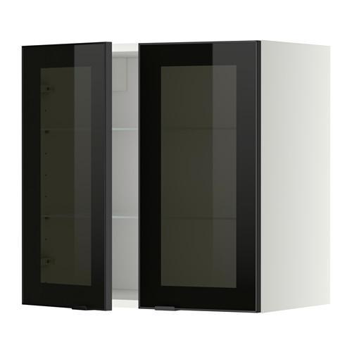 МЕТОД Навесной шкаф с полками/2 стекл дв - 60x60 см, Ютис дымчатое стекло/черный, белый