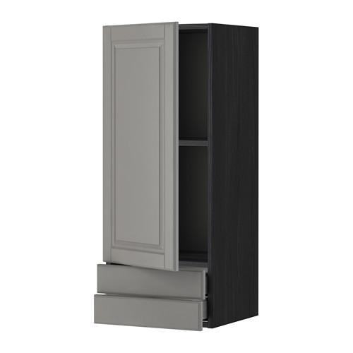 МЕТОД / МАКСИМЕРА Навесной шкаф с дверцей/2 ящика - 40x100 см, Будбин серый, под дерево черный