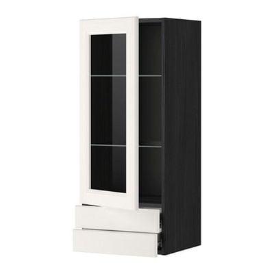 МЕТОД / ФОРВАРА Навесной шкаф/стекл дверца/2 ящика - 40x100 см, Лаксарби белый, под дерево черный