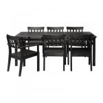 ЭНГСО Стол и 6 стульев - черно-коричневый