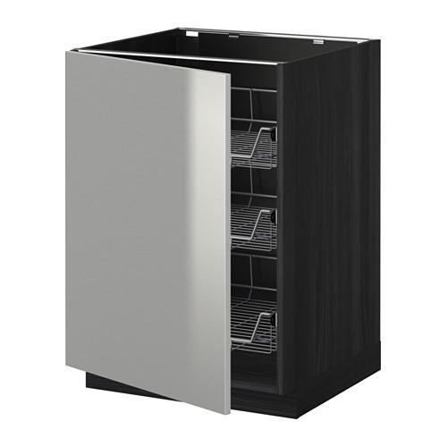 МЕТОД Напольный шкаф с проволочн ящиками - 60x60 см, Гревста нержавеющ сталь, под дерево черный