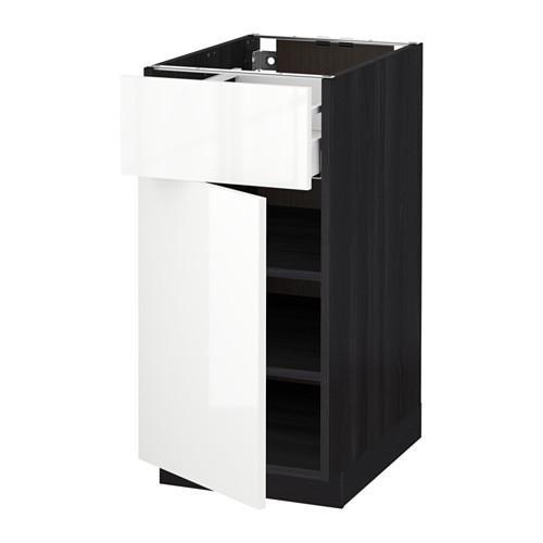МЕТОД / МАКСИМЕРА Напольный шкаф с ящиком/дверью - 40x60 см, Рингульт глянцевый белый, под дерево черный