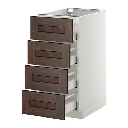 МЕТОД / МАКСИМЕРА Напольн шкаф 4 фронт панели/4 ящика - 40x60 см, Эдсерум под дерево коричневый, белый