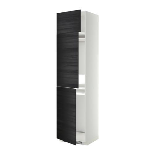 МЕТОД Выс шкаф для хол/мороз с 3 дверями - Тингсрид под дерево черный, белый
