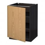 МЕТОД Напольный шкаф с полками - 60x60 см, Экестад дуб, под дерево черный