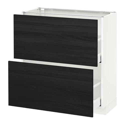 МЕТОД / МАКСИМЕРА Напольный шкаф с 2 ящиками - 80x37 см, Тингсрид под дерево черный, белый