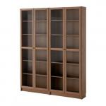 БИЛЛИ / ОКСБЕРГ Стеллаж - коричневый/ясеневый шпон стекло, 160x202x28 см