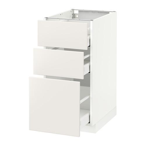 МЕТОД / МАКСИМЕРА Напольный шкаф с 3 ящиками - 40x60 см, Веддинге белый, белый