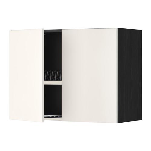 МЕТОД Навесной шкаф с посуд суш/2 дврц - 80x60 см, Веддинге белый, под дерево черный