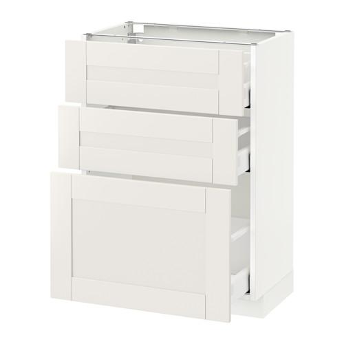 МЕТОД / МАКСИМЕРА Напольный шкаф с 3 ящиками - 60x37 см, Сэведаль белый, белый