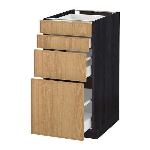 МЕТОД / МАКСИМЕРА Напольн шкаф 4 фронт панели/4 ящика - 40x60 см, Экестад дуб, под дерево черный