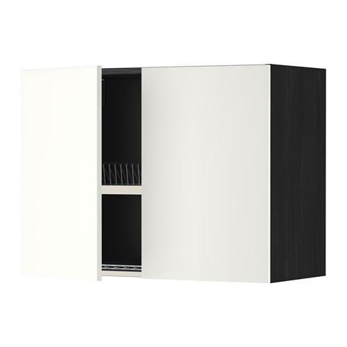 МЕТОД Навесной шкаф с посуд суш/2 дврц - 80x60 см, Хэггеби белый, под дерево черный