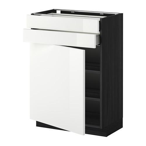 МЕТОД / МАКСИМЕРА Напольный шкаф с дверцей/2 ящиками - 60x37 см, Рингульт глянцевый белый, под дерево черный