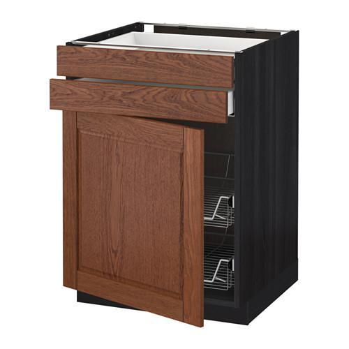 МЕТОД / МАКСИМЕРА Напольн шкаф/дверца/2ящ/првл крзн - 60x60 см, Филипстад коричневый, под дерево черный
