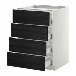 METHOD / MAXIMER Outdoor cabinet / 4 front / 4 drawer - white, Tingsried under wood black, 60x60 cm