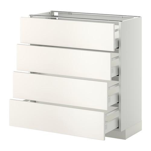 МЕТОД / МАКСИМЕРА Напольн шкаф 4 фронт панели/4 ящика - 80x37 см, Веддинге белый, белый