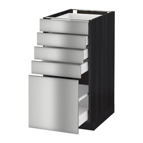 МЕТОД / МАКСИМЕРА Напольный шкаф с 5 ящиками - 40x60 см, Гревста нержавеющ сталь, под дерево черный