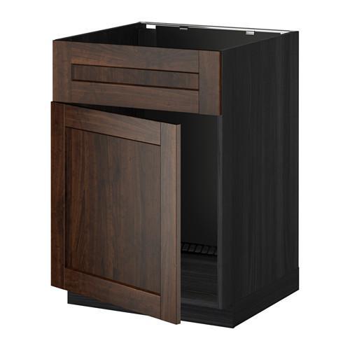 МЕТОД Напольный шкаф п-мойку с дв/фр пнл - под дерево черный, Эдсерум под дерево коричневый