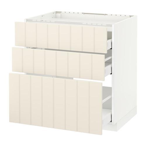 МЕТОД / МАКСИМЕРА Напольн шкаф/3фронт пнл/3ящика - 80x60 см, Хитарп белый с оттенком, белый