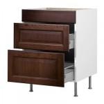 ФАКТУМ Напольный шкаф с 3 ящиками - Лильестад темно-коричневый, 80 см
