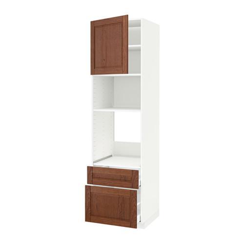 МЕТОД / МАКСИМЕРА Высок шкаф д/духовки/СВЧ/дверца/2ящ - 60x60x220 см, Филипстад коричневый, белый