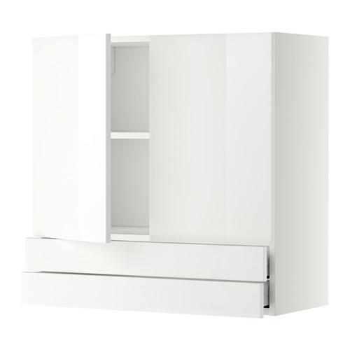 METODE / MAXIMER Vægskab / 2 døre / 2 skuffe - hvid, Ringult blank hvid, 80x80 cm