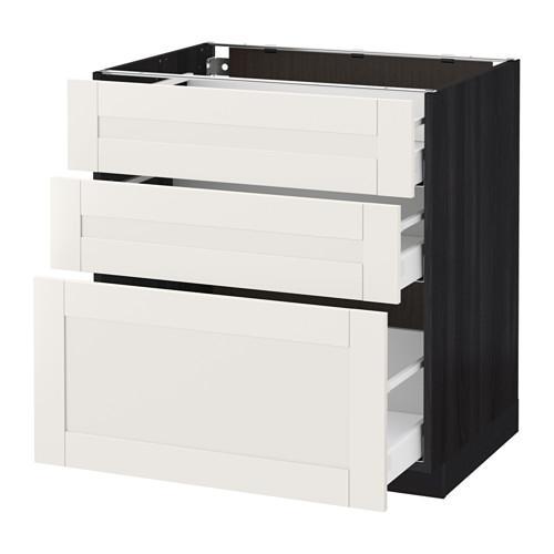 МЕТОД / МАКСИМЕРА Напольный шкаф с 3 ящиками - 80x60 см, Сэведаль белый, под дерево черный