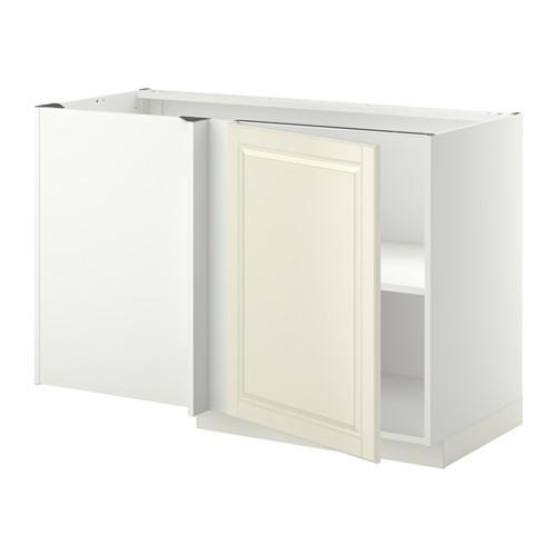 МЕТОД Угловой напольный шкаф с полкой - Будбин белый с оттенком, белый