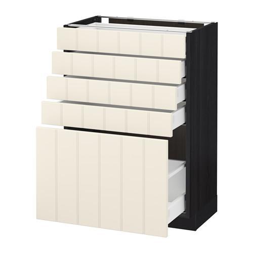 МЕТОД / МАКСИМЕРА Напольный шкаф с 5 ящиками - 60x37 см, Хитарп белый с оттенком, под дерево черный
