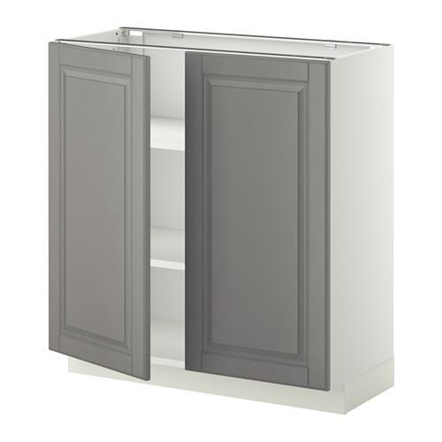 МЕТОД Напол шкаф с полками/2двери - 80x37 см, Будбин серый, белый