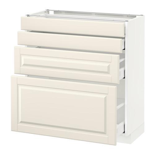 МЕТОД / МАКСИМЕРА Напольн шкаф 4 фронт панели/4 ящика - 80x37 см, Будбин белый с оттенком, белый