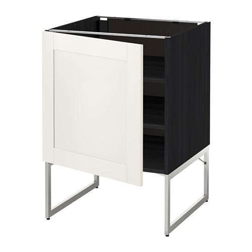 МЕТОД Напольный шкаф с полками - 60x60x60 см, Сэведаль белый, под дерево черный