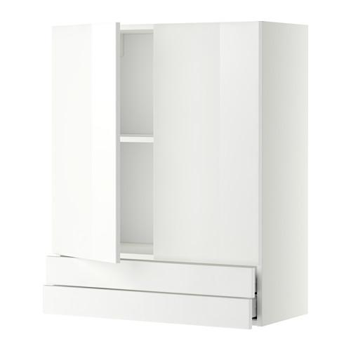 МЕТОД / МАКСИМЕРА Навесной шкаф/2дверцы/2ящика - 80x100 см, Рингульт глянцевый белый, белый