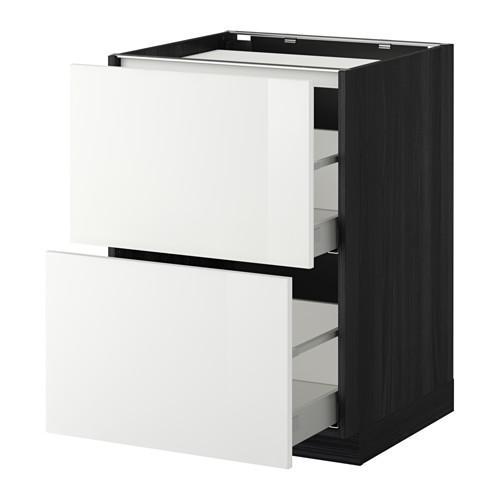 МЕТОД / МАКСИМЕРА Напольн шкаф/2фронт пнл/3ящика - 60x60 см, Рингульт глянцевый белый, под дерево черный