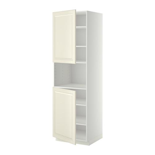 МЕТОД Выс шкаф д/СВЧ/2 дверцы/полки - 60x60x200 см, Будбин белый с оттенком, белый