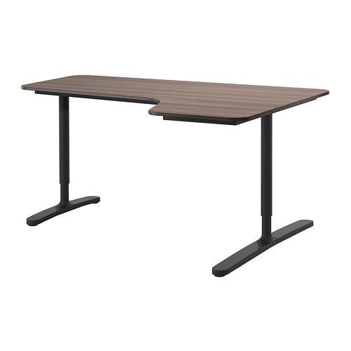 БЕКАНТ Углов письм стол правый - серый/черный