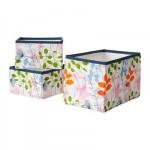 НОТУДДЕН Набор корзин,3 штуки - цветы и листья/разноцветный