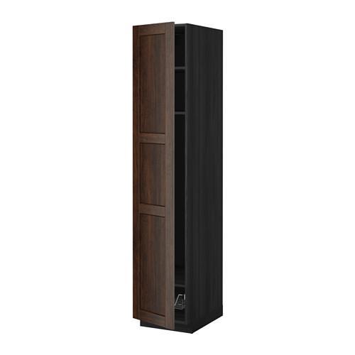 МЕТОД Выс шкаф с полками/проволоч корзин - 40x60x200 см, Эдсерум под дерево коричневый, под дерево черный