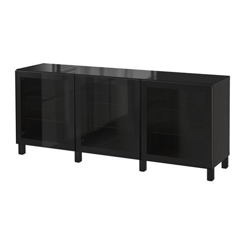 БЕСТО Комбинация для хранения с дверцами - Глассвик черный/прозрачное стекло