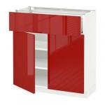 МЕТОД / ФОРВАРА Напольный шкаф+ящик/2дверцы - 80x37 см, Рингульт глянцевый красный, белый