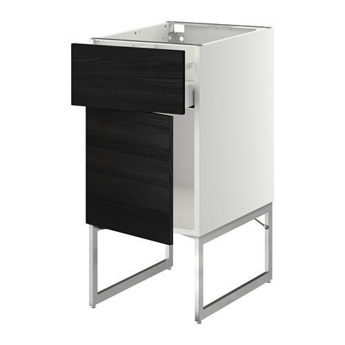 МЕТОД / МАКСИМЕРА Напольный шкаф с ящиком/дверью - 40x60x60 см, Тингсрид под дерево черный, белый