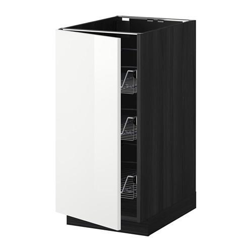 МЕТОД Напольный шкаф с проволочн ящиками - 40x60 см, Рингульт глянцевый белый, под дерево черный