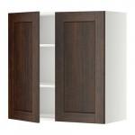 МЕТОД Навесной шкаф с полками/2дверцы - 80x80 см, Эдсерум под дерево коричневый, белый