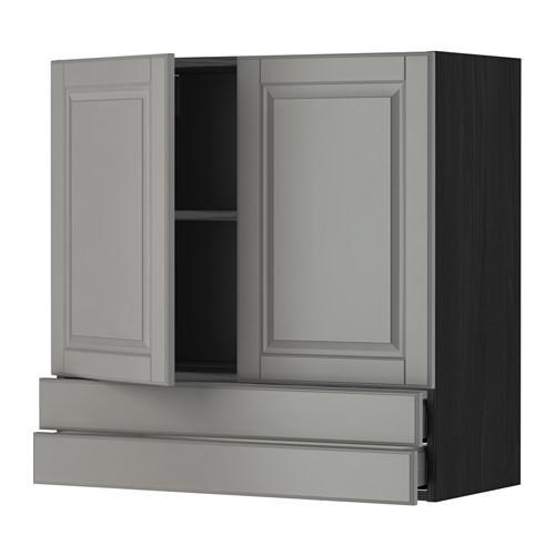 МЕТОД / МАКСИМЕРА Навесной шкаф/2дверцы/2ящика - 80x80 см, Будбин серый, под дерево черный