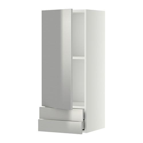 МЕТОД / МАКСИМЕРА Навесной шкаф с дверцей/2 ящика - 40x100 см, Гревста нержавеющ сталь, белый